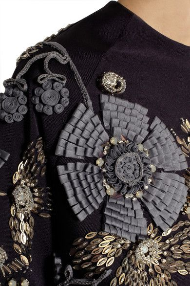 Jacket with rolled ribbon applique & gold sequins; sewing; textured embellishment; close up fashion detail // Biyan