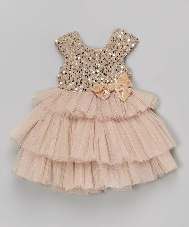 Take a look at this Beige Sequin Tiered Dress - Infant, Toddler & Girls on zulily today!
