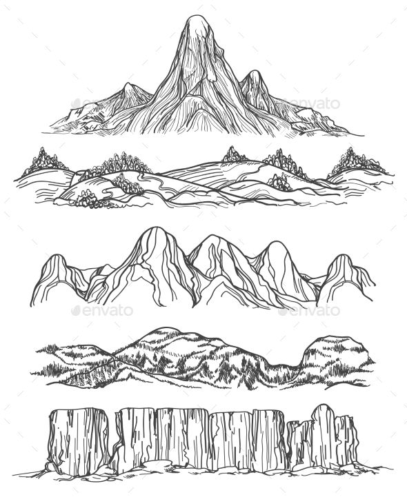 Hand Drawn Mountains and Hills - Landscapes Nature