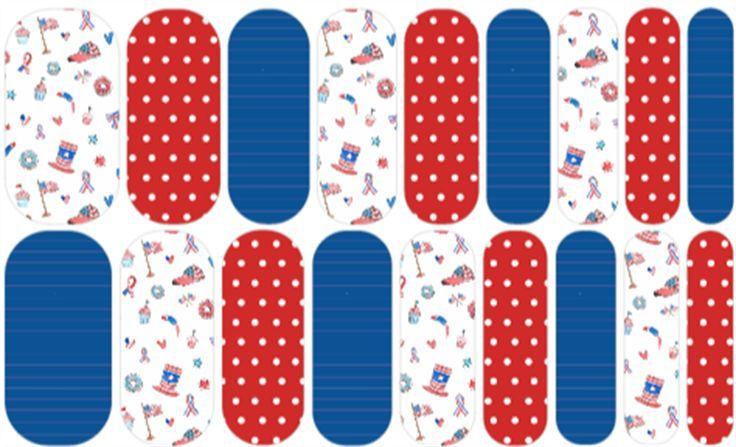 Americana Doodle | Jamberry | Cute doodles of flags, hearts, patriotic hats and fireworks in red, white and blue. | Nail art design by Rachael Snow using Jamberry Nail Art Studio | Join my Facebook group to see more!  Facebook.com/groups/snowberriesvip | #snowberriesnas, Jamberry NAS, Nail Art Studio, patriotic nails, americana manicure, july 4th nails