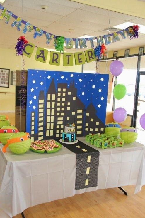 Teenage Mutant Birthday Party Idea www.spaceshipsandlaserbeams.com