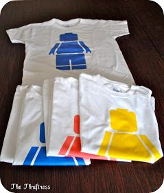 The Thriftress: Lego Party - mini-figure shirt template