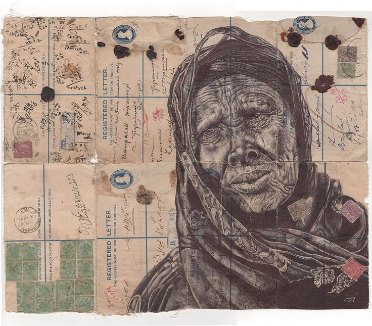 New Bic Ballpoint Pen Portraits on Vintage Maps and Stationery by Mark Powell   Colossal