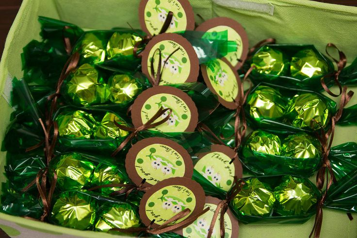 """Pea in a pod"" baby shower favor.  Chocolate truffles cover in green foil and then make the pod in cellophane."