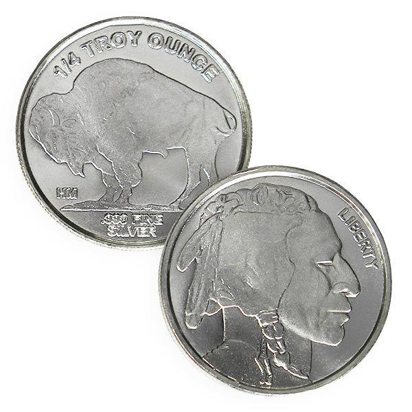 Buy 1 4 Oz Silver Buffalo Indian Head Rounds Money Metals In 2020 Silver Coins Indian Head Silver Bullion