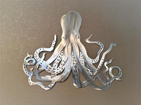 Octopus Metal Wall Art Tropical Beach Decor Ocean Life Gift For