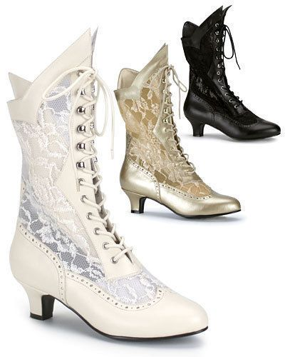 Victorian wedding lace ankle boots fancy dress Size 3-9 Ivory black gold NEW