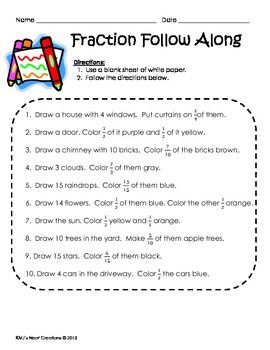 Great as a station/center.  Students practice fractions while having fun drawing a picture.