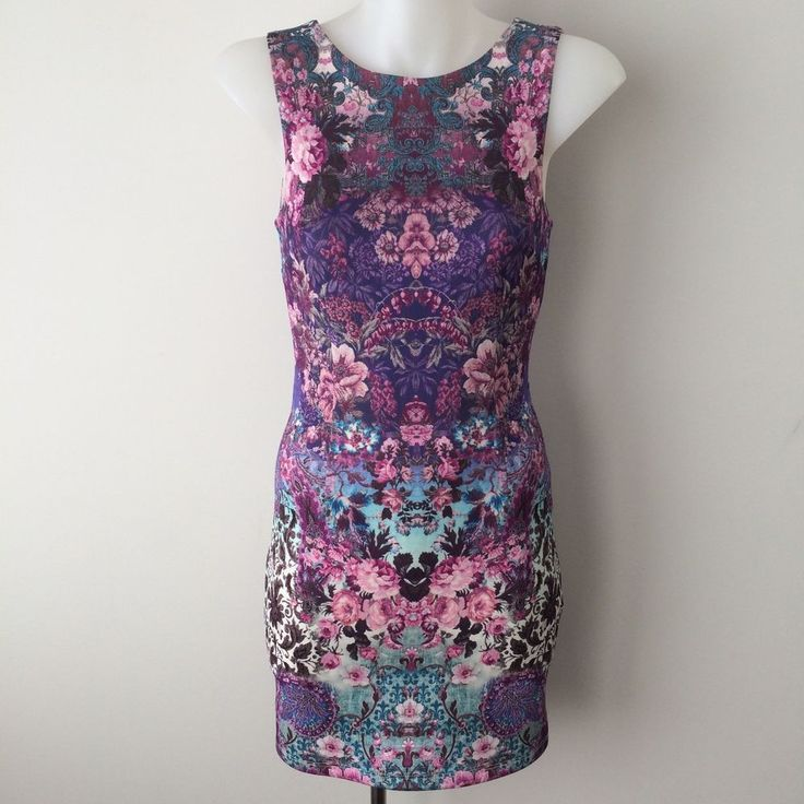 FOREVER NEW Size 4 -6 Floral Bodycon Dress Fitted Sleeveless Vintage Style Print  | eBay