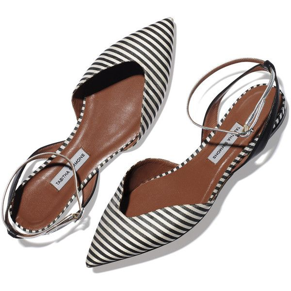 Tabitha Simmons Striped Pointed Toe Flat Goop ❤ liked on Polyvore featuring shoes, flats, striped shoes, flat heel shoes, pointy toe shoes, stripe shoes and flat pumps