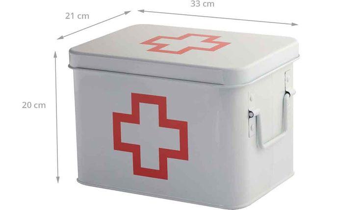 Boîte à pharmacie en métal blanc – Rangement des médicaments