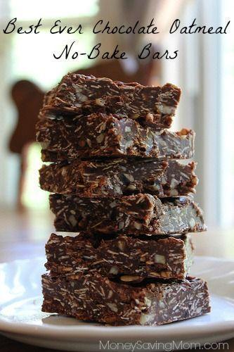 Chocolate oatmeal no-bake cookie bars recipe :)