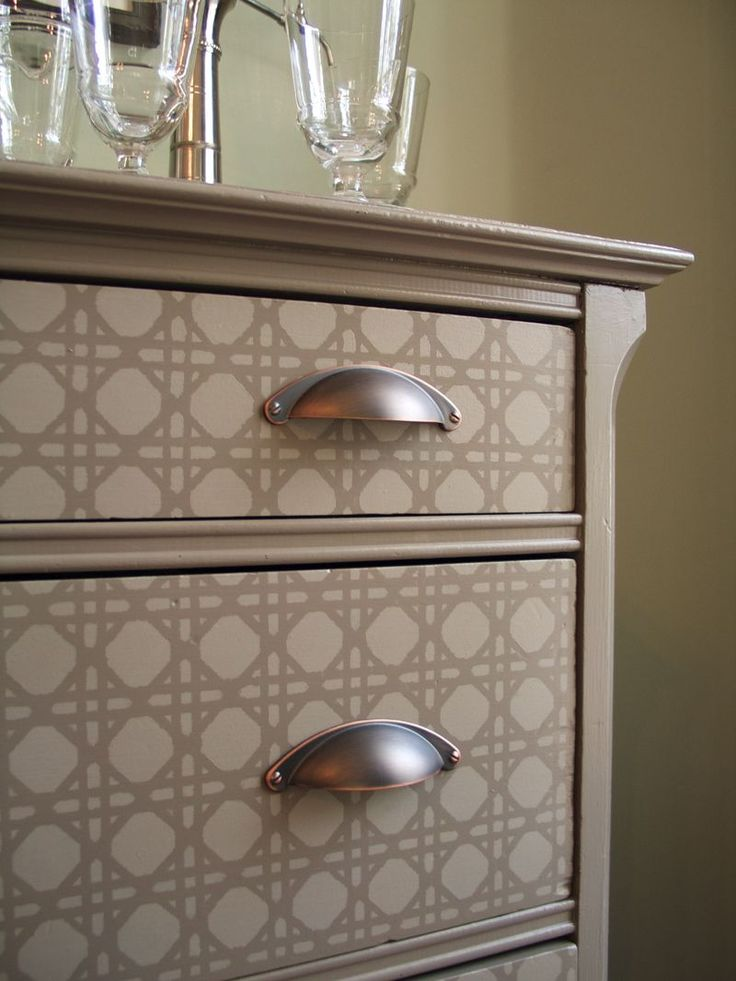 Stenciled dresser.  (Rattan from Stencil Library)