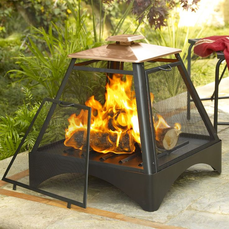 This Pagoda Fireplace features a durable .8mm steel construction with and a copper roof. This set includes a fire bowl, storage cover, screen and a lifting tool.