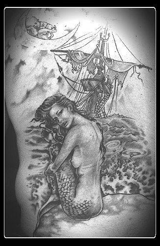 Tatuaggio Acqua, albero, bianco e nero, coffa, corde, donna, fantasy, feto, fianco, luna, mare, naufragio, personaggio, schiena, sirena, vela realizzato dal tatuatore Lucky Signs Tattoo - Stez