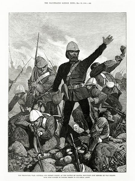 General Sir George Colley at the Battle of Majuba Mountain Just Before He Was Killed. This Day in History: Feb 8, 1881: Boers defeat British in the Battle of Ingogo (Battle of Schuinshoogte) http://dingeengoete.blogspot.com/
