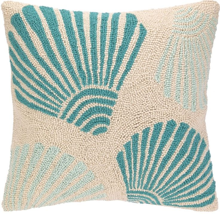 KN Scallop Turquoise Hook Pillow: Beach House Decor