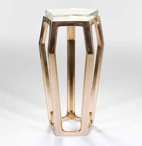 Chai Ming Studios Gem Table, Polished Bronze with Cast Glass Top