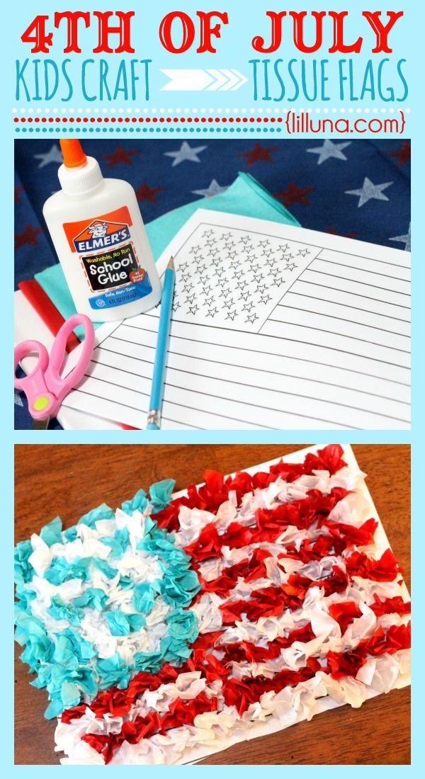 Fourth of July Tissue Flag Kids Craft #fourthofjuly