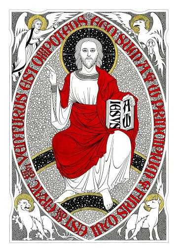 """Christ the King   2015   Catholic Mass Readings   Christ in Majesty (Daniel Mitsui, 2012, © Daniel Mitsui)   Rev 1:8   """"I am the Alpha and the Omega,"""" says the Lord God, """"the one who is and who was and who is to come, the almighty.""""."""