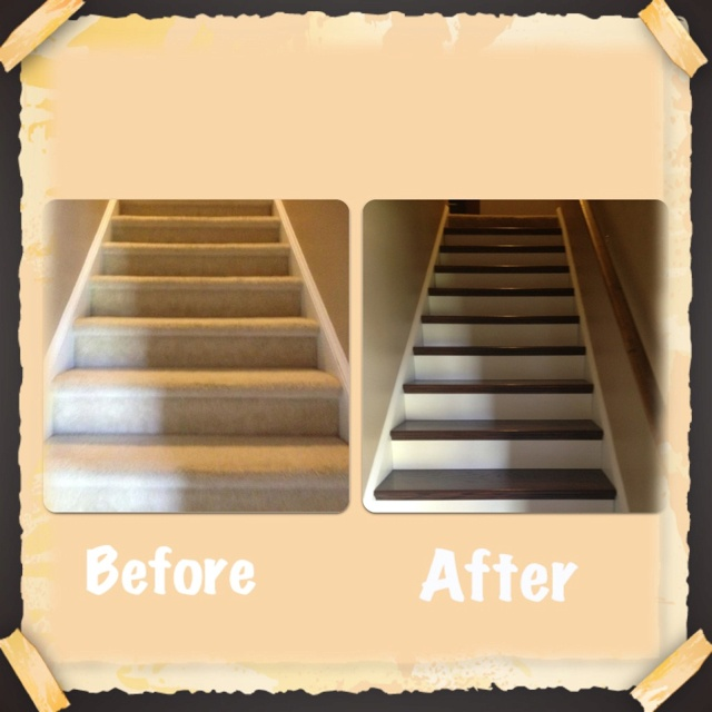 Carpet Stairs Now Oak Wood After Stained And Polyurethane And White Risers.