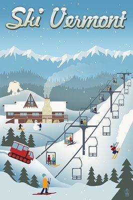 Vermont - Retro Ski Resort - Lantern Press Poster