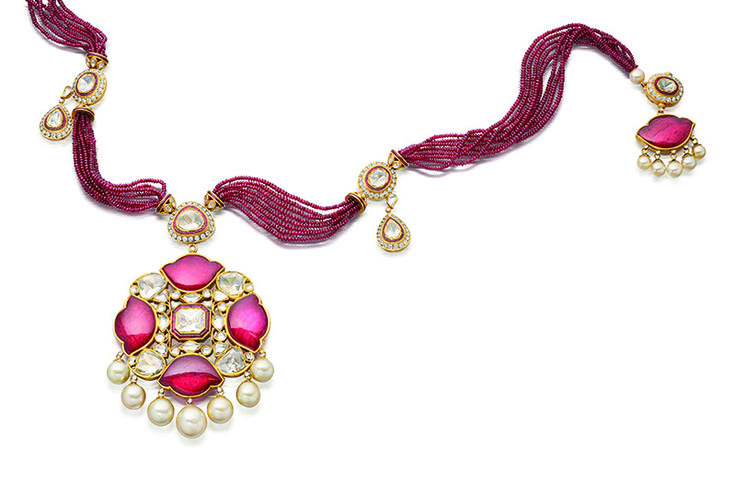 Manik Lotus Sautoir: ruby, diamond and pearl set in gold