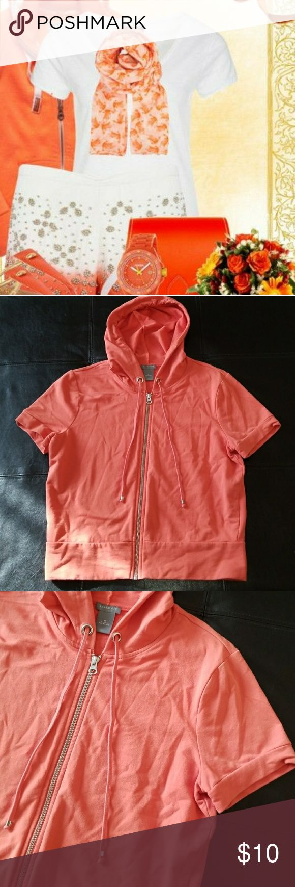 Ann Taylor Short Sleeve Zip Up Hoodie Orange Ann Taylor short sleeve zip up hoodie. Good used condition. First picture not of product, but of styling idea. Size Medium. (Bin 6) Ann Taylor Tops Sweatshirts & Hoodies