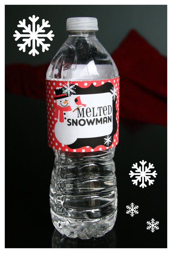 INSTANT DOWNLOAD-Melted Snowman Water Bottle Labels Printable