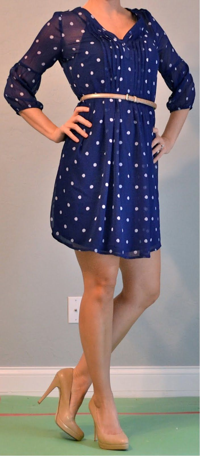Outfit Posts: outfit post: polka dotted dress, gold belt outfitposts.blogspot.com