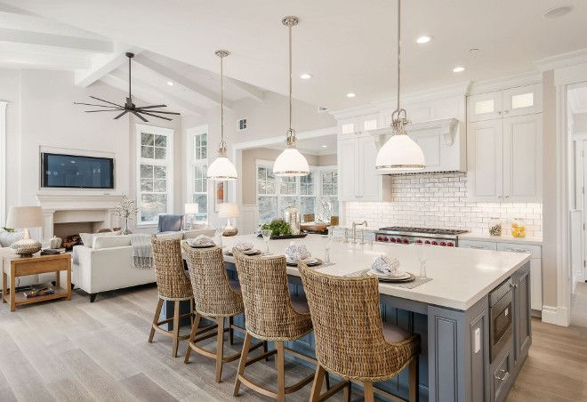 White kitchen cabinet paint color and grey kitchen island paint color