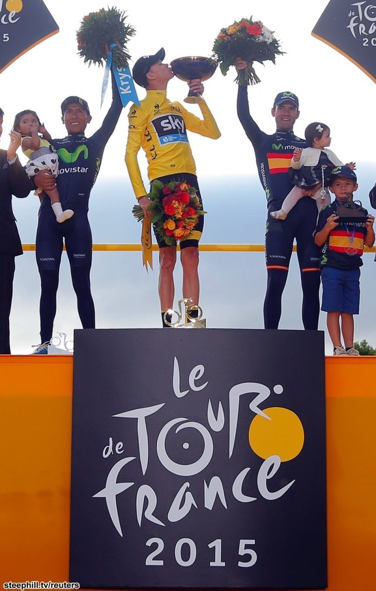 2015 tour-de-france photos stage-21. Your 2015 Tour de France podium: 2nd Nairo QUINTANA (MOVISTAR) + 1:12, 1st Christopher FROOME (SKY) 84:46:14, 3rd Alejandro VALVERDE (MOVISTAR) + 5:25