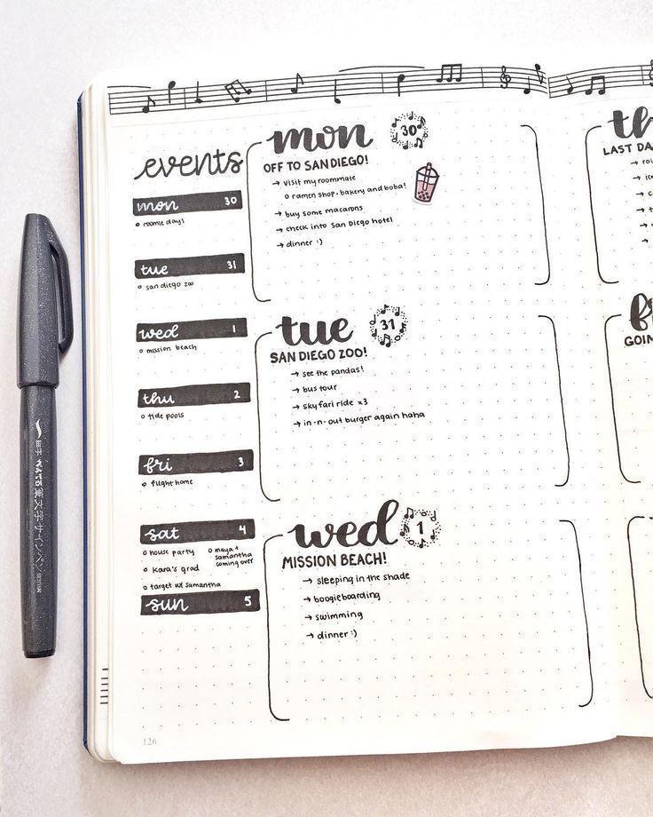 BuJo wöchentlich – #BuJo #Organisation #wöchentlich