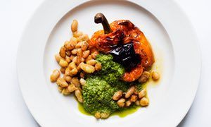 Nigel Slater's baked peppers and beans with basil and mint recipe | Nigel Slater | Life and style | The Guardian