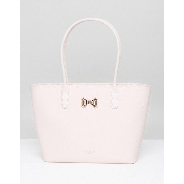 Ted Baker Curved Bow Small Zip Shopper Bag (£195) ❤ liked on Polyvore featuring bags, handbags, pink, zip purse, ted baker purse, shopping bag, pink bow purse and bow purse