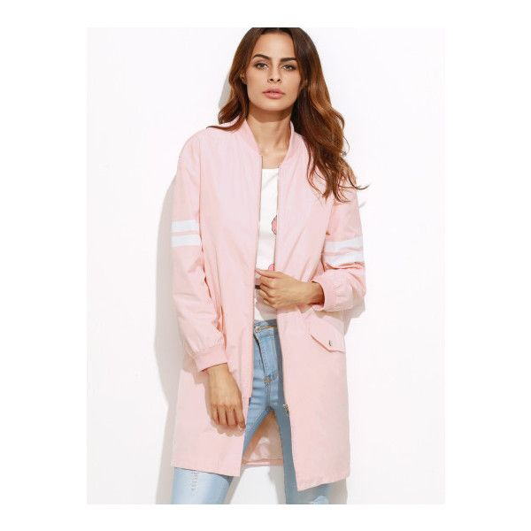 SheIn(sheinside) Pink Varsity Striped Sleeve Zip Up Bomber Coat ($26) ❤ liked on Polyvore featuring outerwear, coats, pink, short sleeve coat, zip coat, bomber coats, leather-sleeve coats and stand collar coat