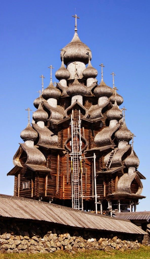Russian Orthodox Church, Located in Kizhi, on an island in the north of Russia