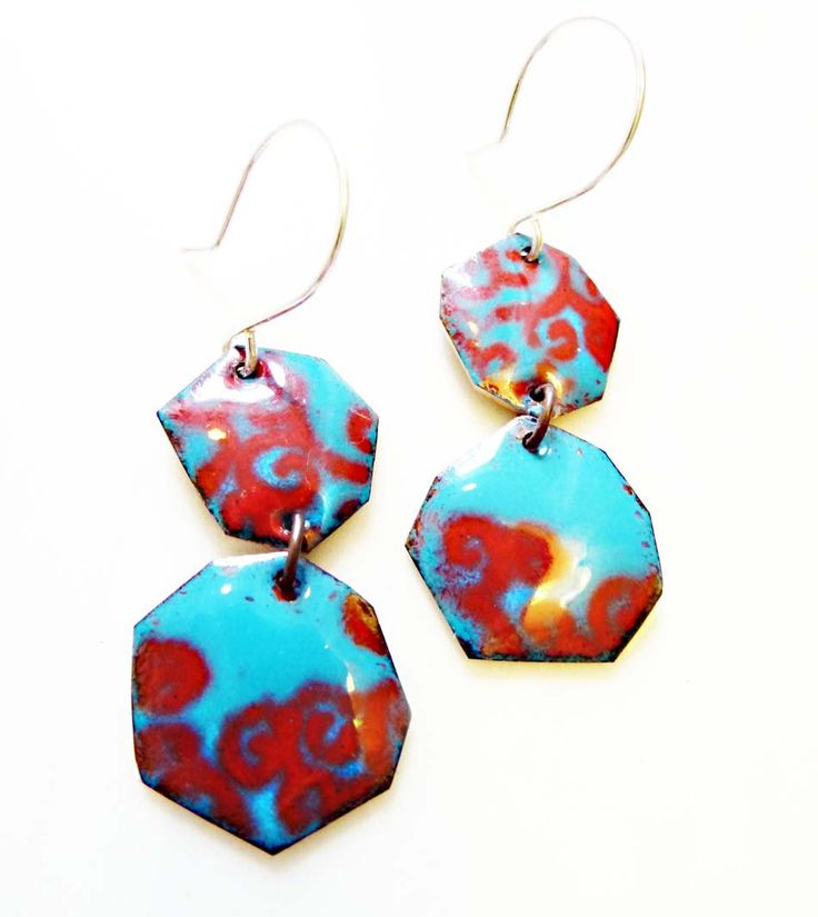 Enamel on Copper Earrings, Irregular Hexagon, Kiln-Fired Glass Enamel, Sterling Ear Wire, OOAK, Colorful Modern, Brocado Earrings by RedAvaDesigns on Etsy