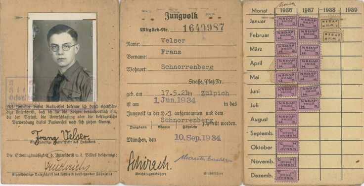 Hilter Youth membership card, 1934.
