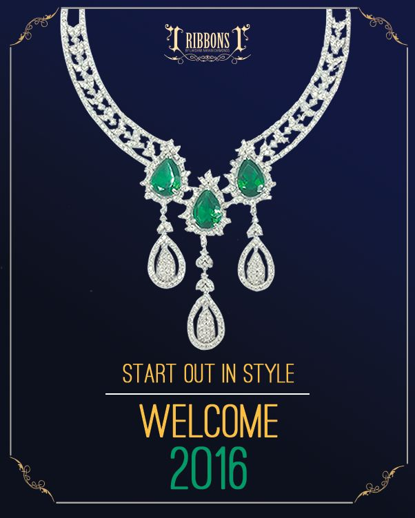 Bring in the new year with a dash of bling!  ‪#‎HappyNewYear‬ #Wedding #Diamond #Emerald #Trust #RibbonsJewellery #Jewelry #Jewels #Delhi #NewDelhi NewYear #2016 #Jewelers #RibbonsJewellery #Forever #Set #DiamondSet #Necklace