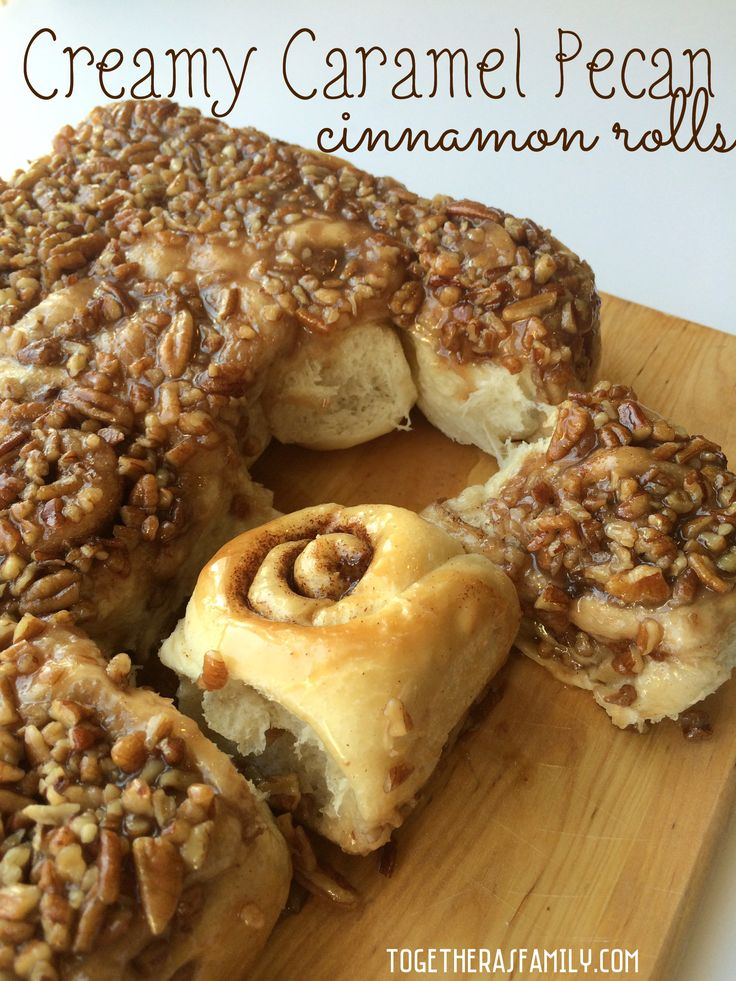 Creamy Caramel Pecan Cinnamon Rolls- These. Are. Amazing! Uses frozen bread dough, only minutes of prep work, leave in the fridge overnight and bake in the morning!