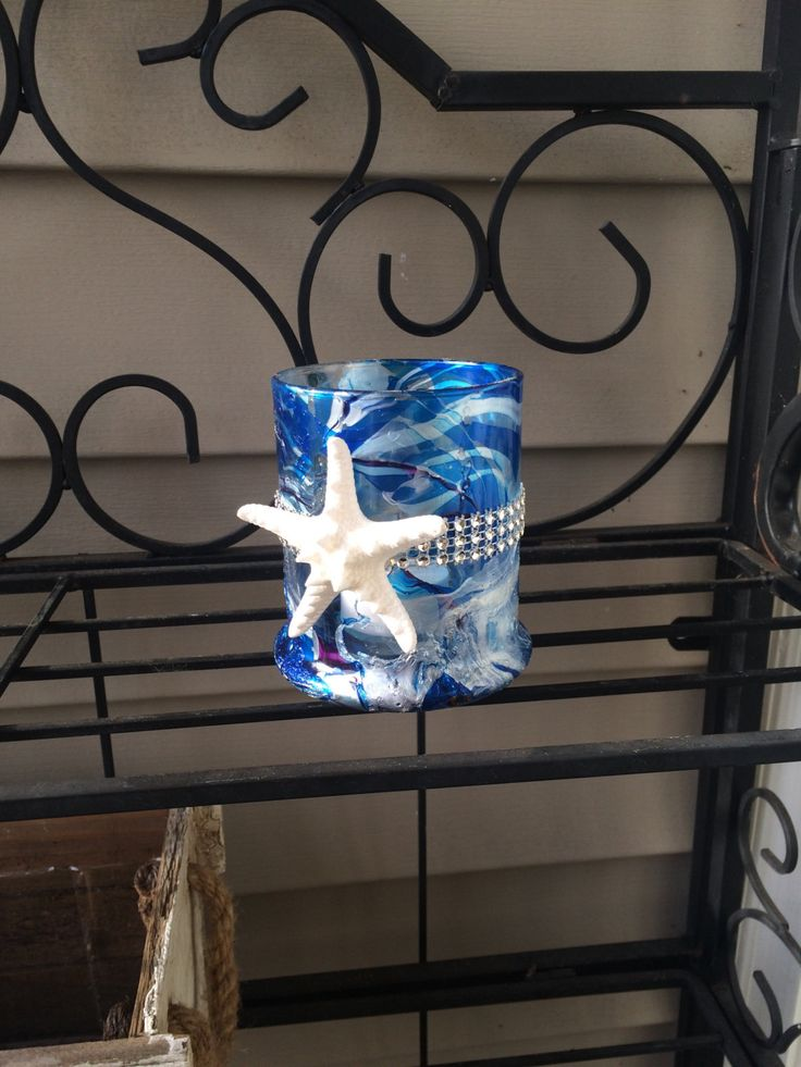 Seashell decorative candle holder, shelf decor, summer house decorations, beach house decor, bathroom decor,starfish decorations,living room by ReginaKril on Etsy