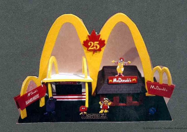 McDonalds 25th Anniversary of Canada's First McD's next to a contemporary model.  Scenario populated with Ronald Mcdonald, Ham-burglar,Grimace and others.  Commissioned for CEO of Mcdonald's Canada, on display at corporate headquarters.  #business#corporate#made_to_order#custom#customized#gift_idea#gift_ideas#promotional_gift#gift#product#mascot#figurines#personalized#employees#staff