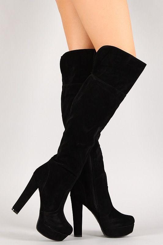 Great Stevie Nicks style black high platform boots!