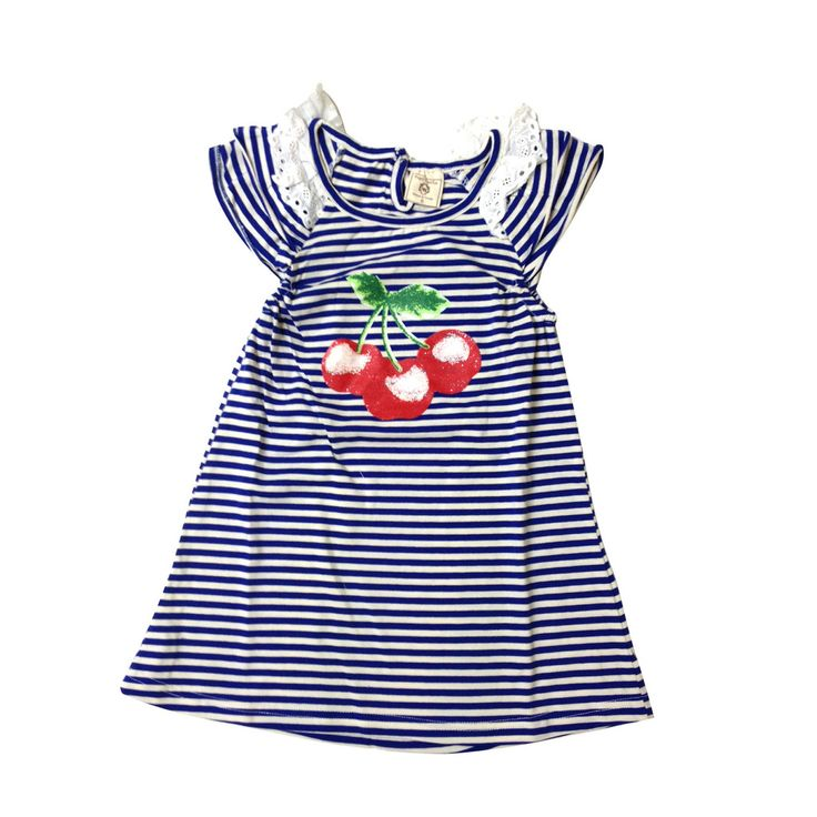 Cherry dress in blue or red