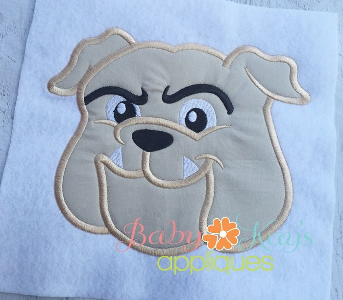 Bulldog Face 4x4 5x7 6x10 8x8 4x4 Applique Patterns