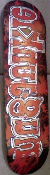 """hand painted called """"Bleed 2 Sk8"""""""