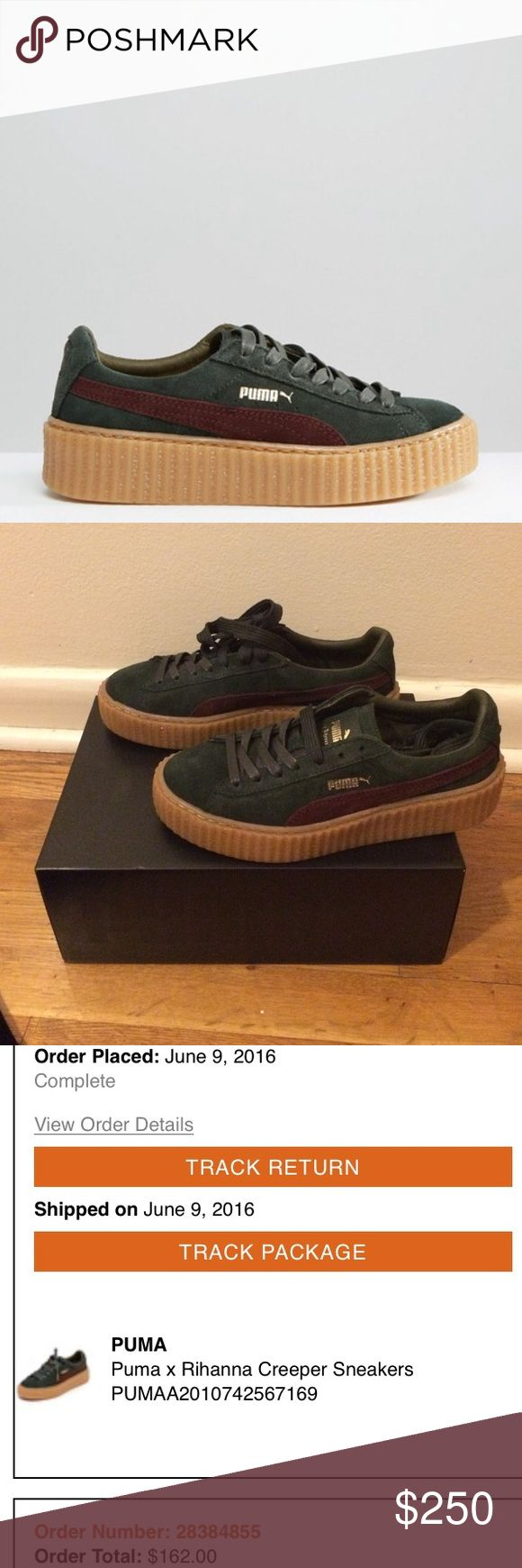 "Puma x Fenty by Suede Creepers ""Bordeaux Green"" Suede Puma x Rihanna sneakers detailed with a contrast logo. Textured ridges at the thick platform. Lace-up closure. Rubber sole. 100% authentic!!!  Purchased from Shopbop.com proof of purchase in last picture. comes with box & dust bag. Puma Shoes"