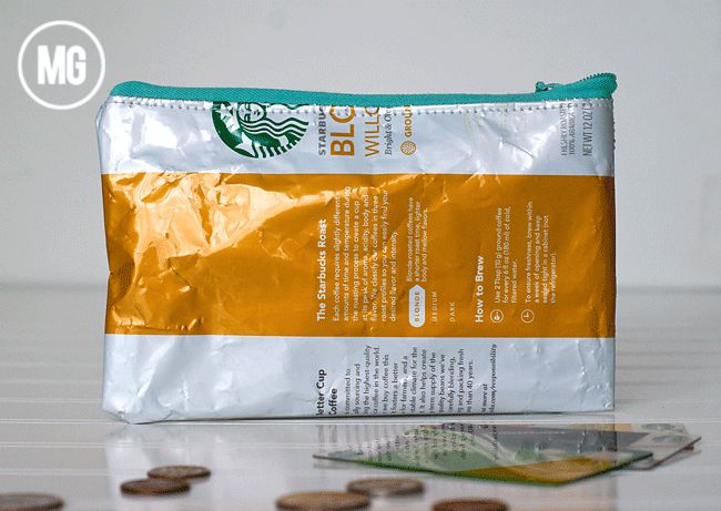 Love how Maggie Massey turned this Starbucks coffee ground bag into a BAG with a zipper.  CLEVER!  Love this!!