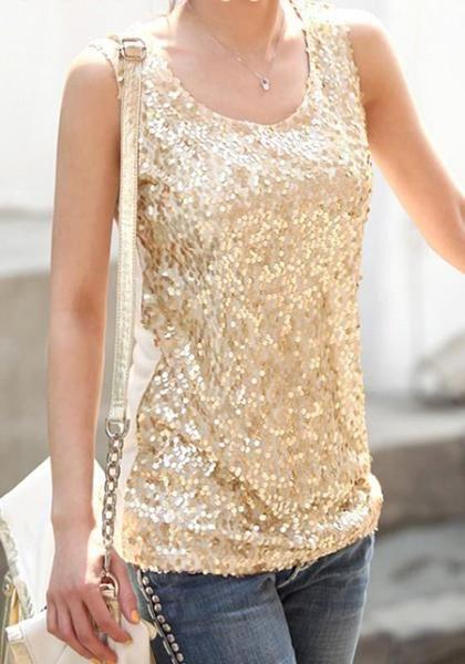 c5e26fba7b5959 Golden Patchwork Sequin Condole Belt Round Neck Fashion Vest ...